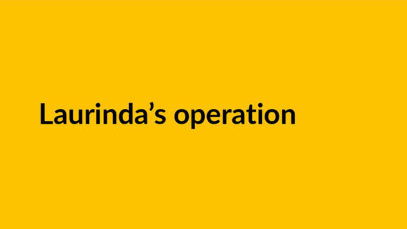 An example of a video title slide, featuring the text 'Laurinda's operation' on a yellow background.