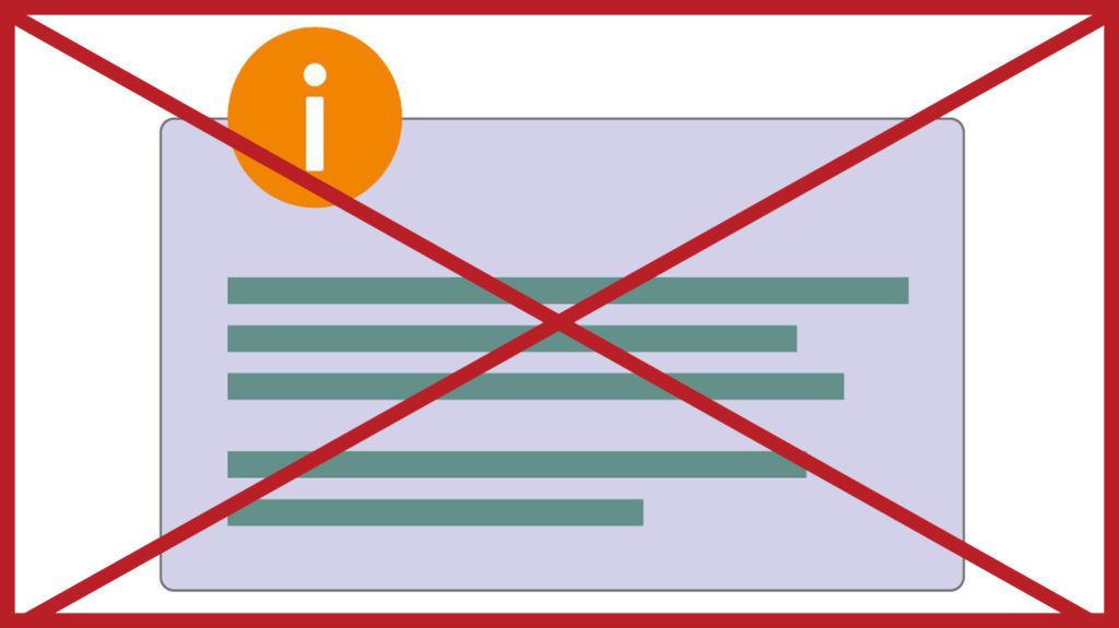 A box containing an orange icon, green text and a pale purple background. The image has a red cross through it to indicate it is incorrect.