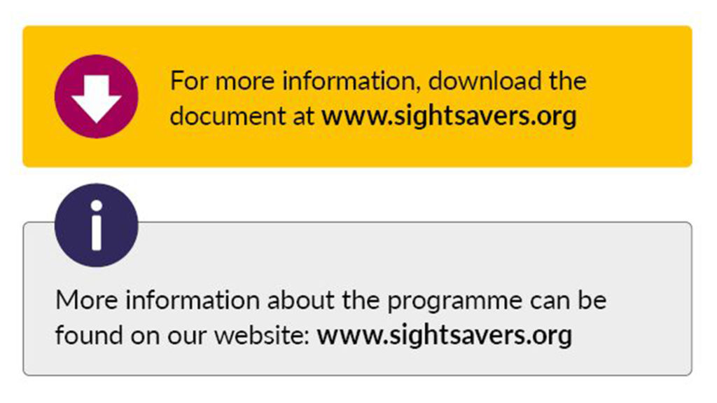 Example of a yellow callout box with a raspberry arrow icon, and the text 'For more information, download the document at www.sightsavers.org'. The second example shows a grey box with a blueberry information icon and the text 'More information about the programme can be found on our website: www.sightsavers.org.'