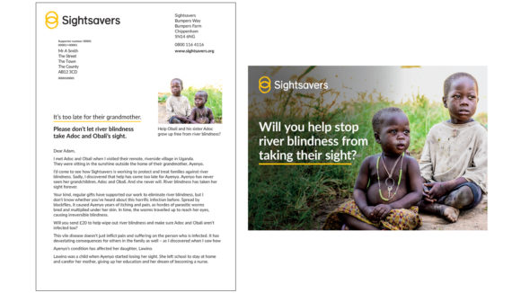 Example of Sightsavers' direct mail letter, featuring the logo, text and a small image, plus an envelope with a large image and the words 'Will you help stop river blindness from taking their sight?'.
