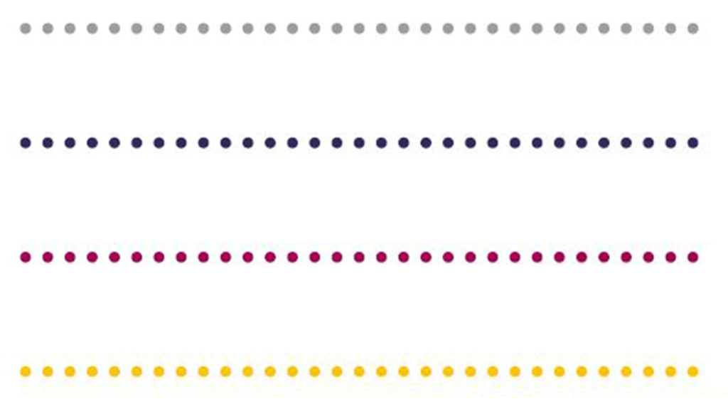 Examples of dotted lines used as dividers, in grey, blueberry, raspberry and yellow colours.