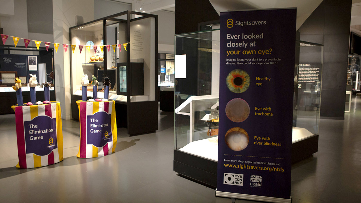 Set up of Sightsavers' stand at the Science Museum Lates event.