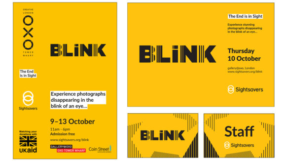 Examples of documents from Sightsavers' BLINK exhibition, featuring a yellow background and the text 'BLINK'.