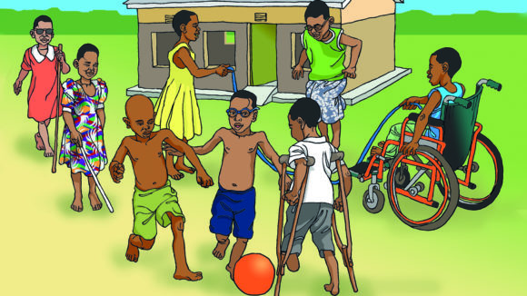Illustration of children with disabilities playing outside of a prre-school in Malawi.