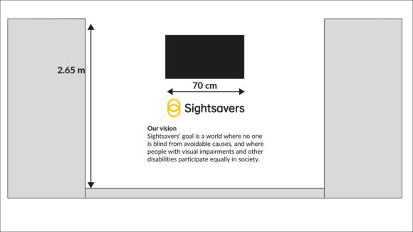 A planning mock-up of a Sightsavers office interior.