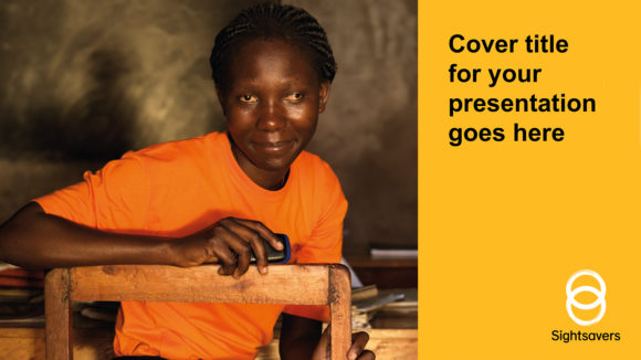 An example of a SIghtsavers PowerPoint slide, featuring an image and a yellow bar.