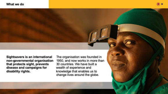 An example of Sightsavers' ready-made slide deck, showing an image and some text titled 'What we do'.