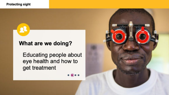 An example of Sightsavers' ready-made slide deck, showing an image and the text 'What are we doing?'