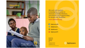 Example of Sightsavers' report front cover, with the text 'Education 2019', and back cover with the Sightsavers mission statement.