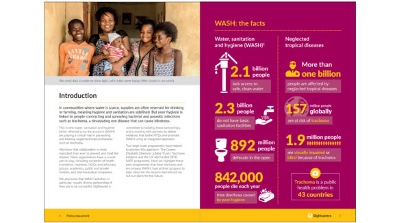 An example of a Sightsavers policy document. The first page has an introduction and text; the second page has a raspberry-coloured infographic.