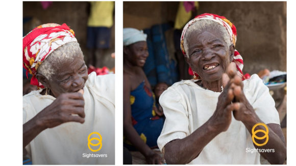 Examples of social media images in landscape and square orientation, showing a woman smiling and a Sightsavers logo.