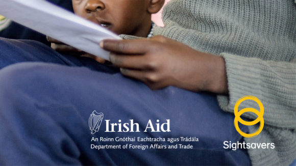 Example of a Sightsavers brochure cover with the SIghtsavers logo plus the Irish AId logo..