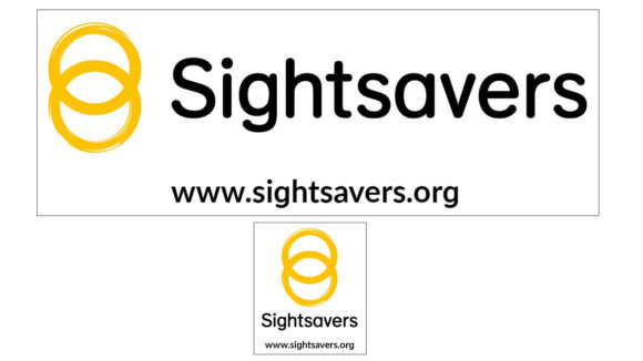 Two examples of Sightsavers' vehicle stickers, a small and a large version, featuring the Sightsavers logo and www.sightsavers.org.