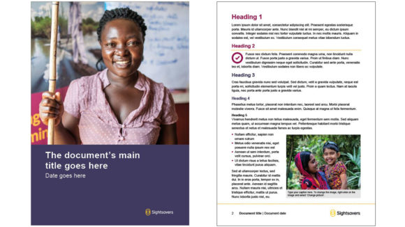 Two examples of a Sightsavers Word document. The first is a blueberry cover page with an image. The second contains text and headings.