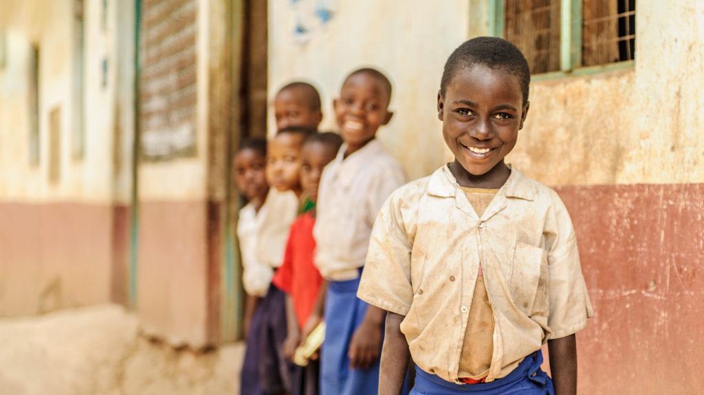 A group of schoolchildren at Nandenje Primary School in Ruangwa, Tanzania.