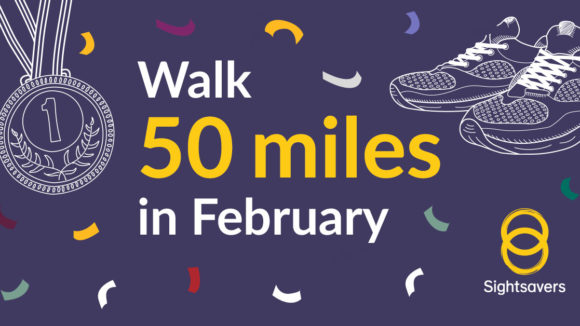 Illustrated image with text saying Walk 50 Miles in February