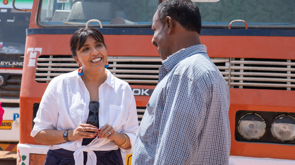 Actress Sunetra Sarker speaks to a truck driver.