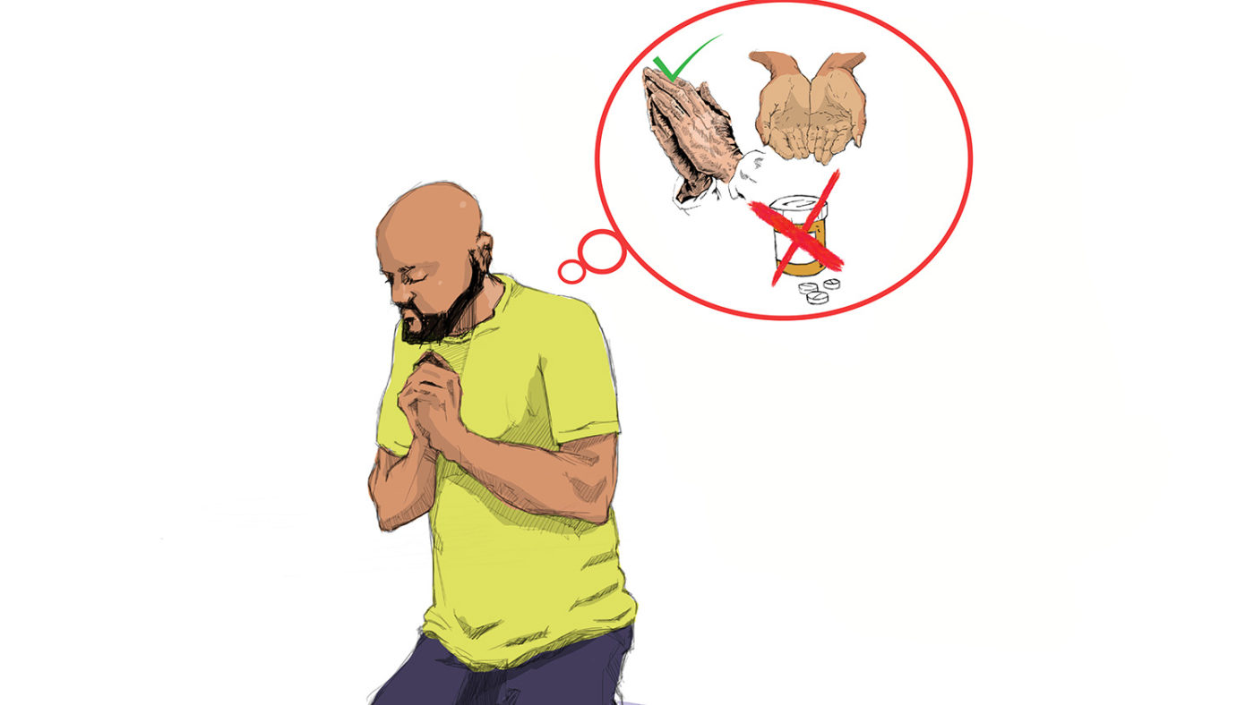 An illustration of a man praying. A thought bubble appears above his head showing a pot of medication crossed out, and hands praying with a tick next to it.