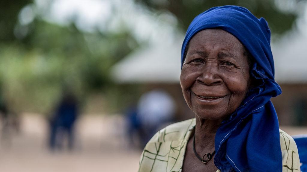 Aziza smiles at the eye screening camp.