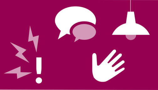 A purple illustration showing icons for speech, a light, a hand and an exclamation mark.
