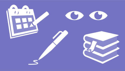 A lilac illustration showing icons for a calendar, eyes, a pen and books.