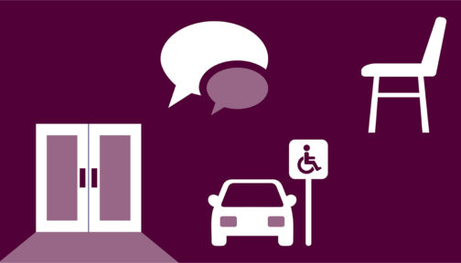 A dark purple illustration showing icons for a chair, a door, a disabled parking space and a speech bubble.