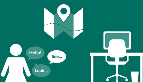 A green illustration showing icons for a map, a person talking and a desk.