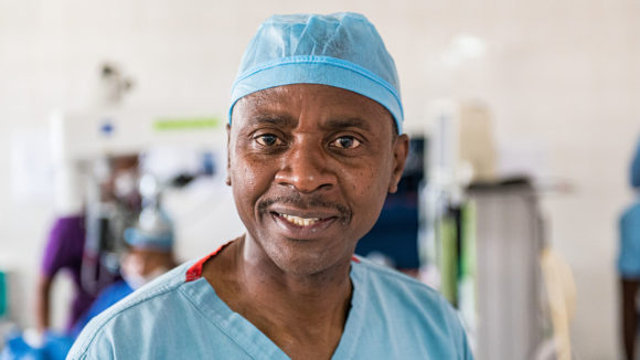 Eye surgeon, Doctor Msukwa in his scrubs at a hospital in Malawi.