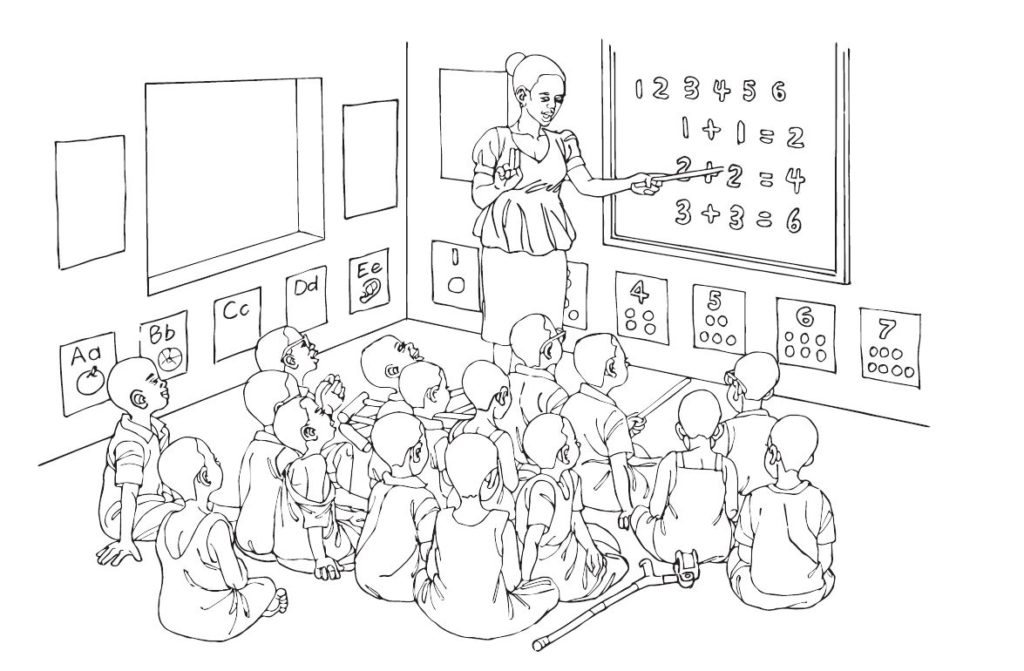 Illustration of a classroom.