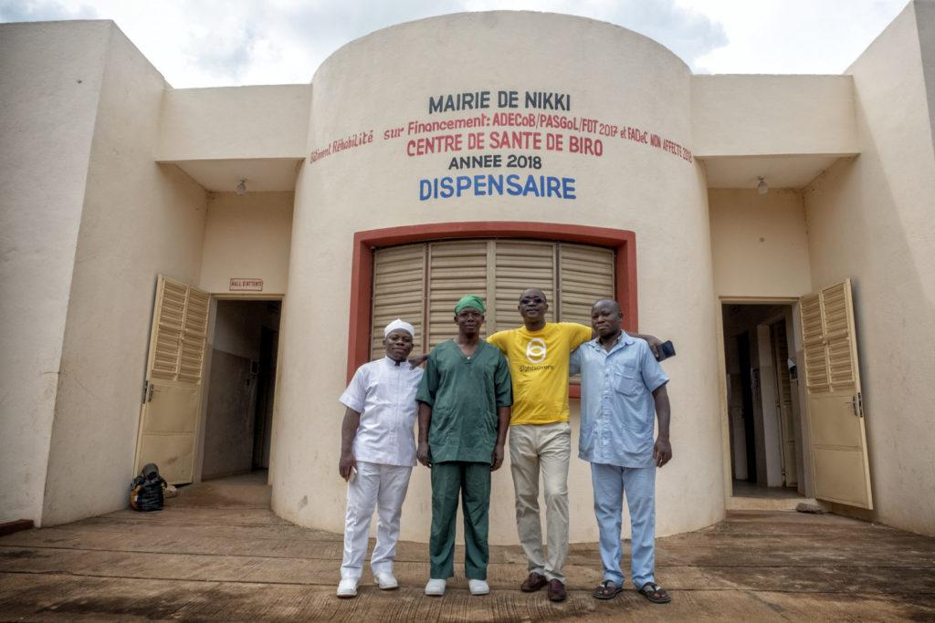 The medical team outside the hospital in Benin.
