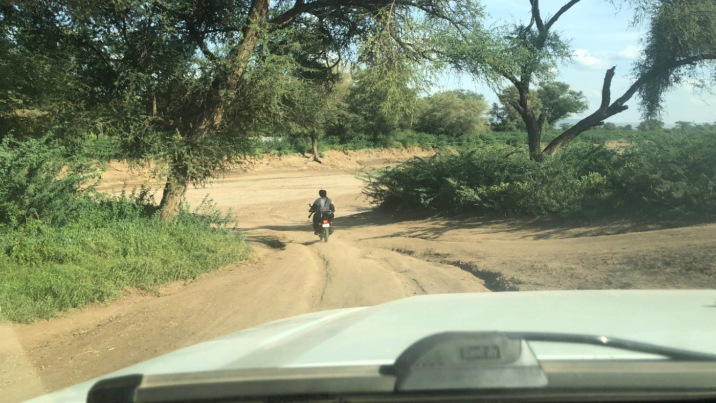 A long dirt road.