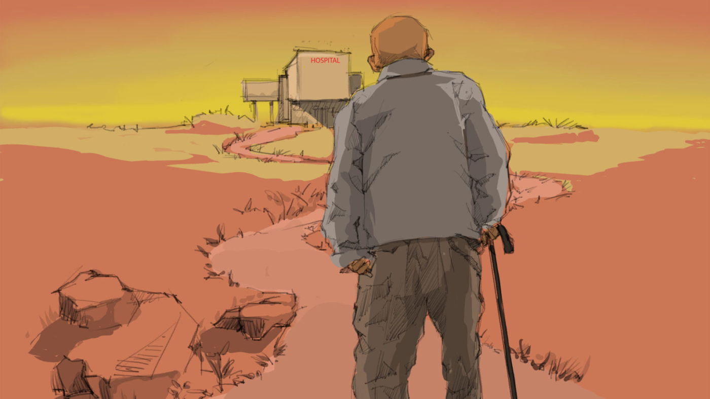 An illustration of a man with a walking stick walking a long road, with a hospital far in the distance.