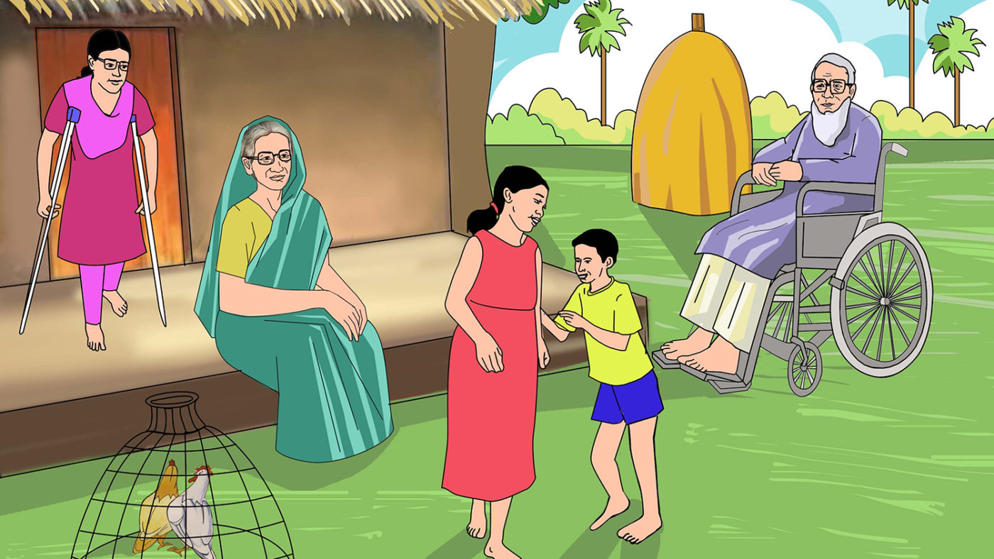 An illustration of a Bangladeshi family outside their home.