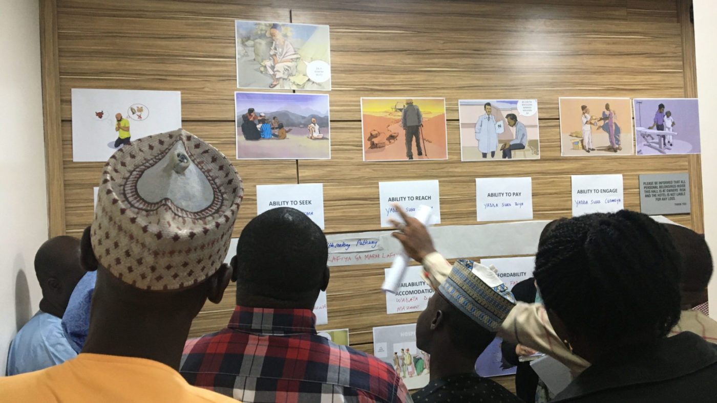 A group of people look at a wall where cartoons representing the research are shown.