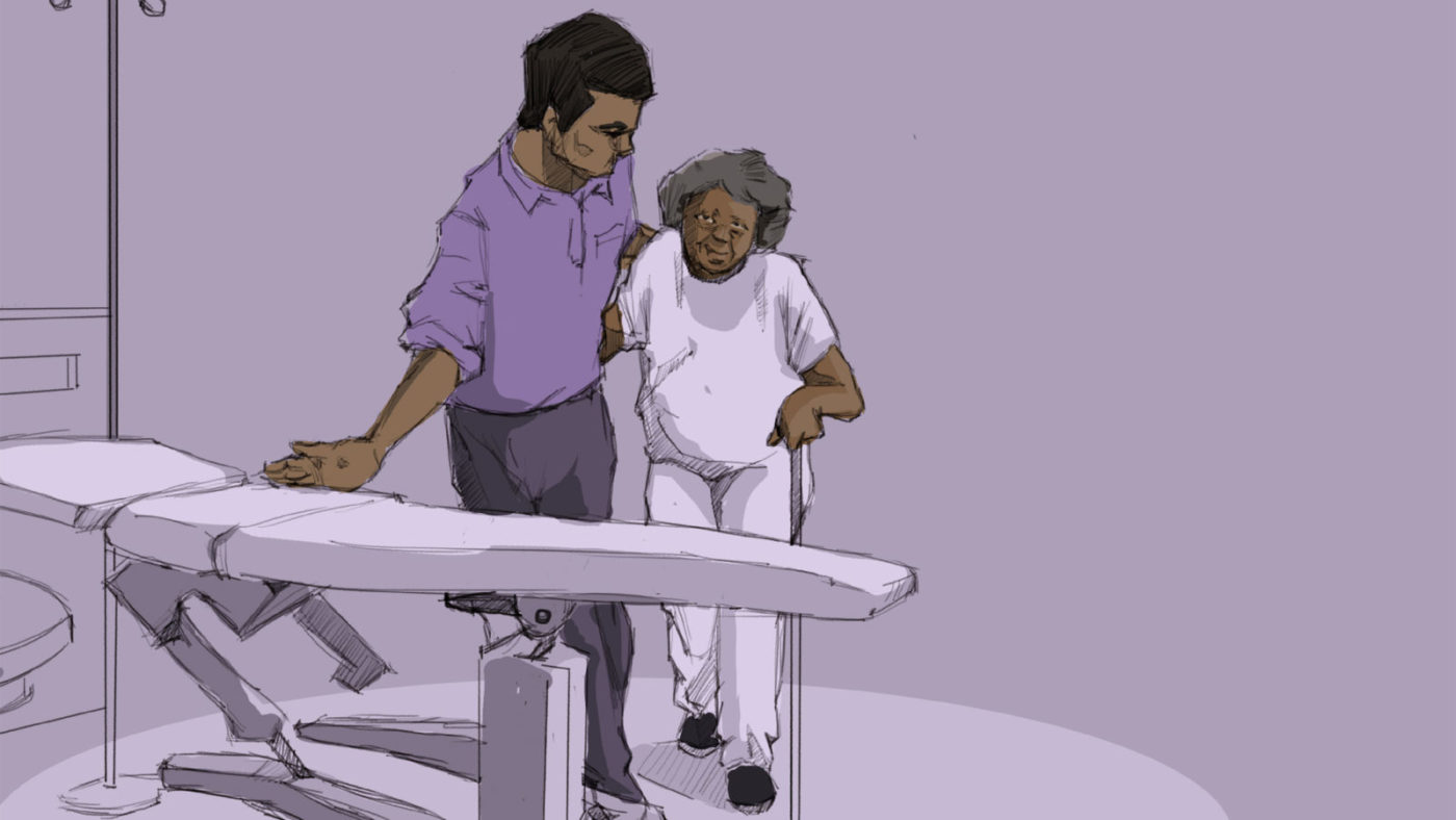 An illustration of a man helping an elderly woman with a walking stick onto a hospital bed.