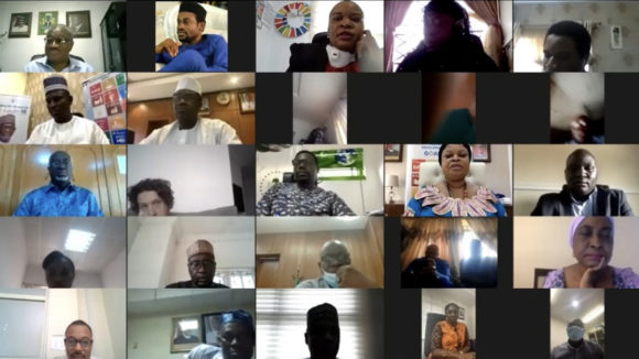 A screengrab showing a group of about 25 people taking part in an online video call.