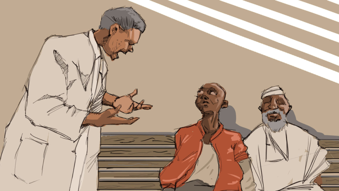A illustration of a man in a white medical gown shouting at two men who are sat on a bench in a hospital.