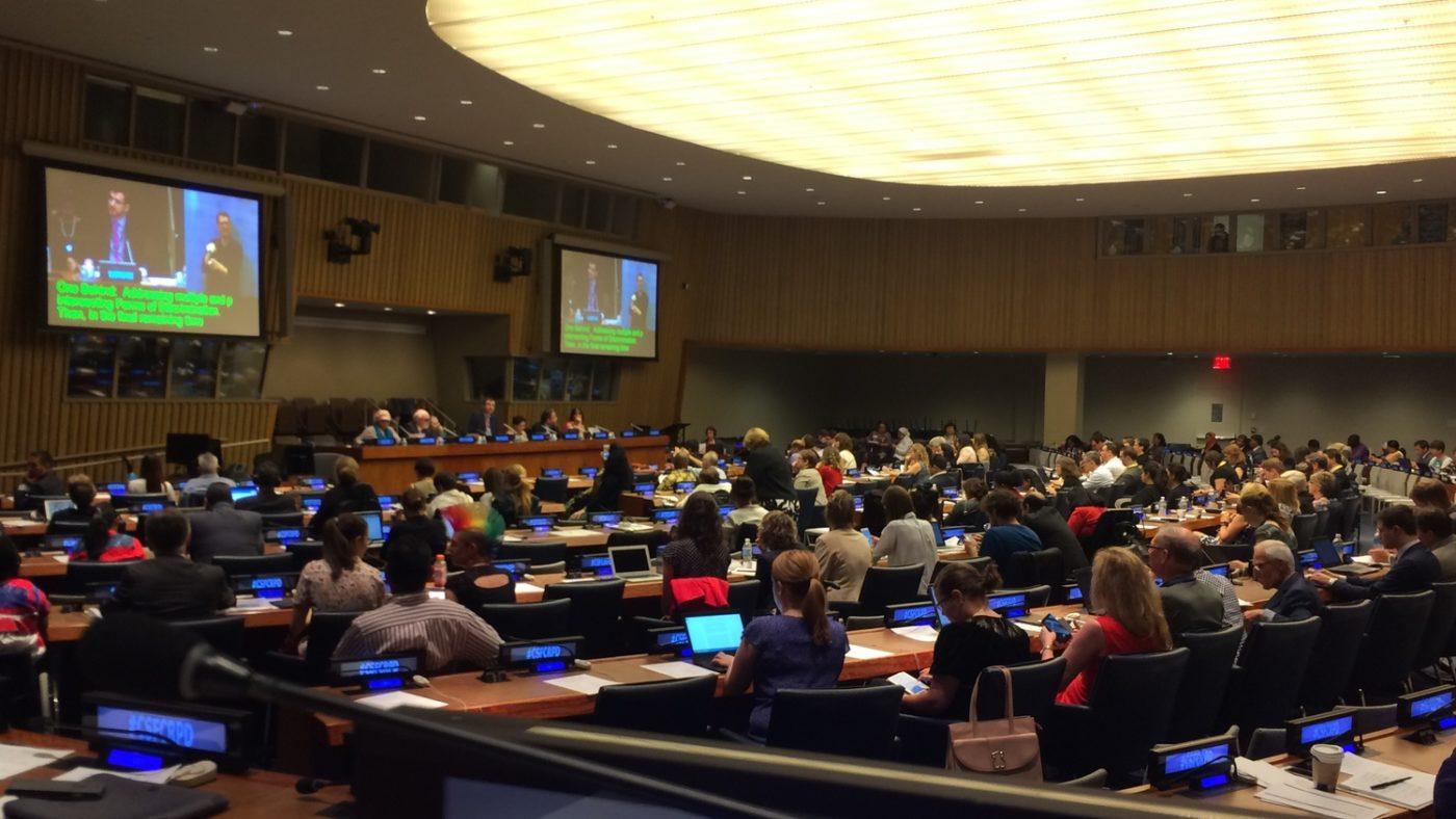 The main debating chamber at the United Nations.