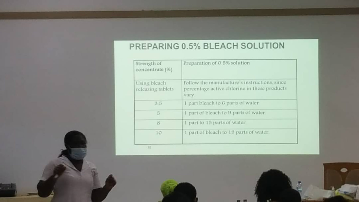 A slide showing how to make a bleach solution.