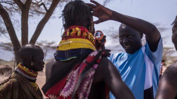 Community member is screened for trachoma in Turkana, Kenya