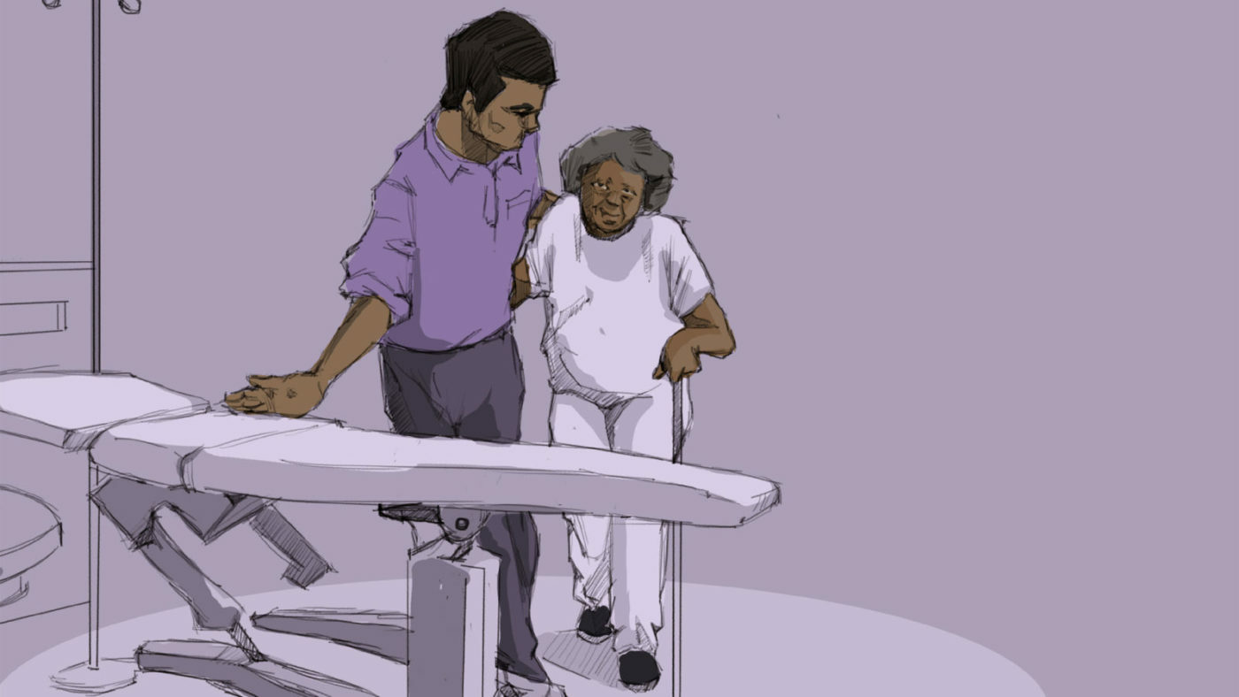 Illustration of a health worker helping a patient.
