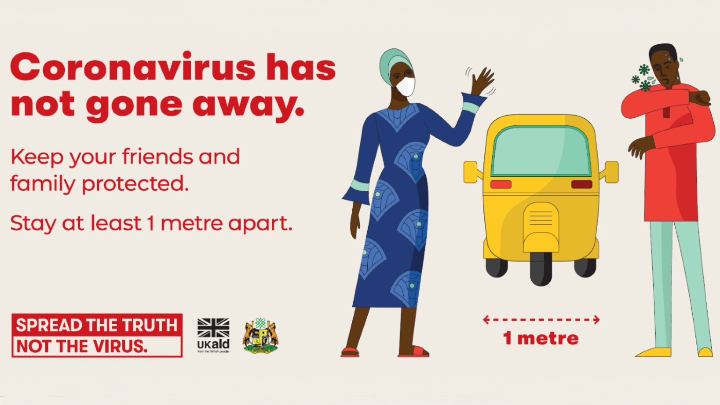 A poster saying 'Coronavirus has not gone away. Keep your friends and family protected. Stay at least 1 metre apart'. There are illustrations of a man and woman with a vehicle separating them, illustrating one metre.