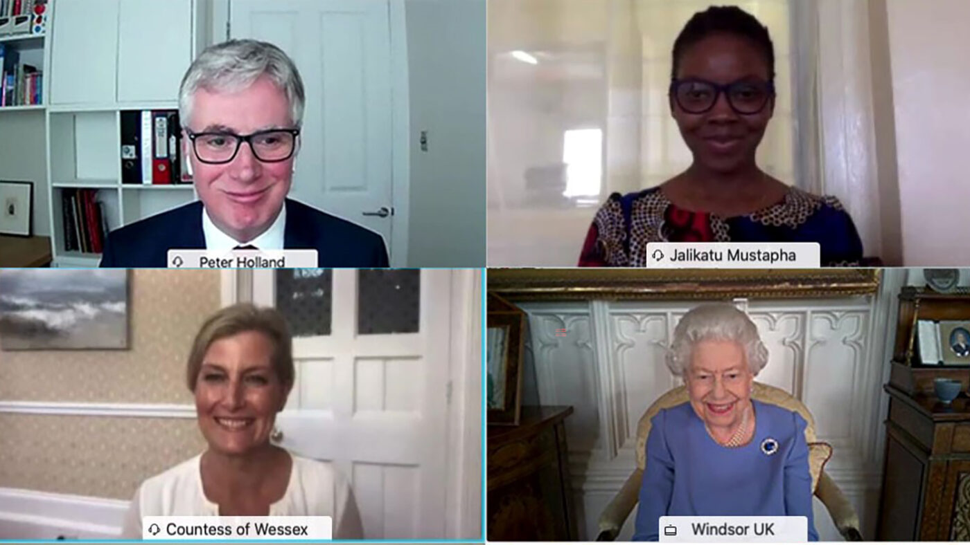 A screenshot of a video call between Peter Holland, Jalikatu Mustapha, the Queen and the Countess of Wessex.