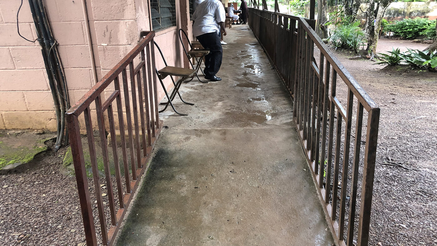 A ramp at the entrance to a school.