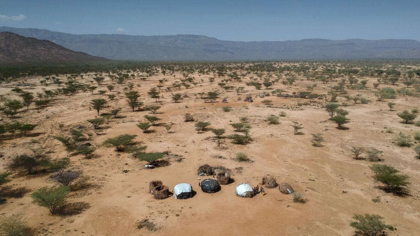 An aerial photo of rural landscape in Kenya.