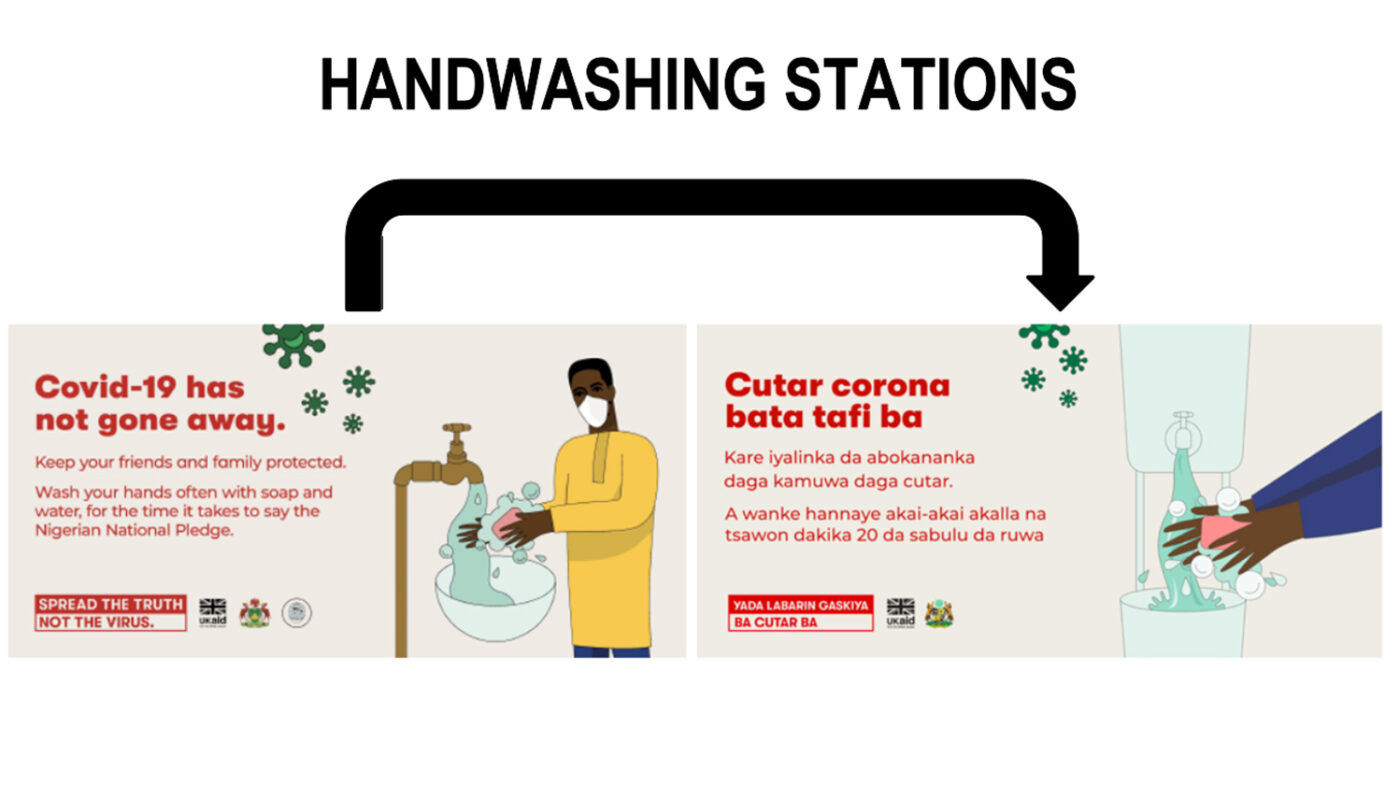 Images of two different posters showcasing hand washing to protect from COVID.