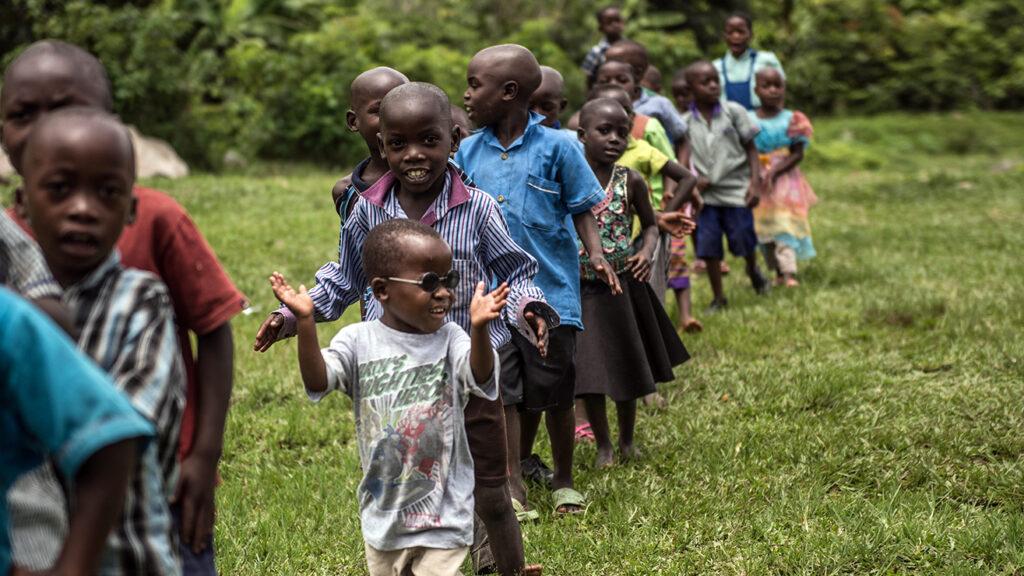 Children in a line.