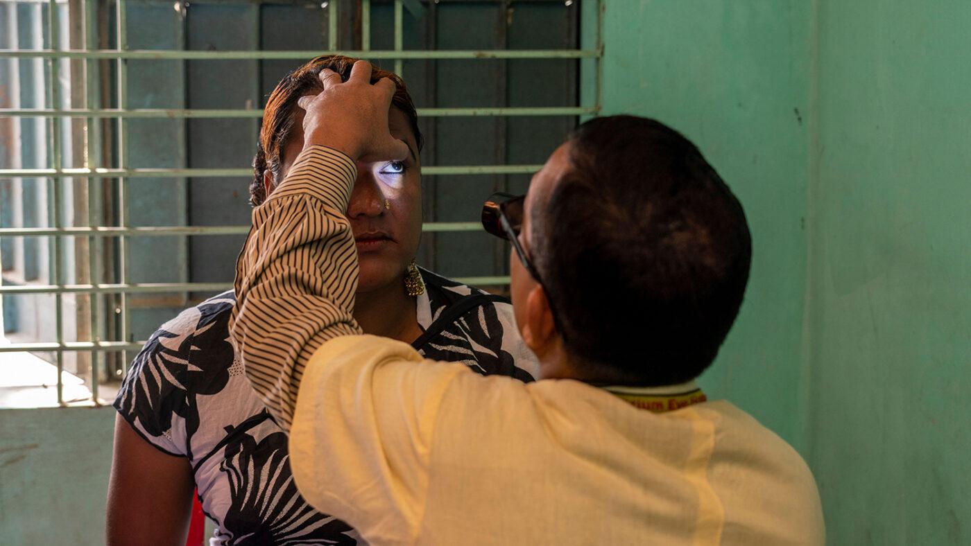 Women having sight checked.