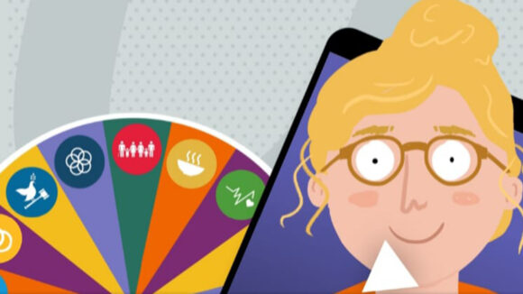 An illustration from the Put Us in the Picture website, featuring a woman with blonde hair wearing glasses next t a colourful wheel of fortune.