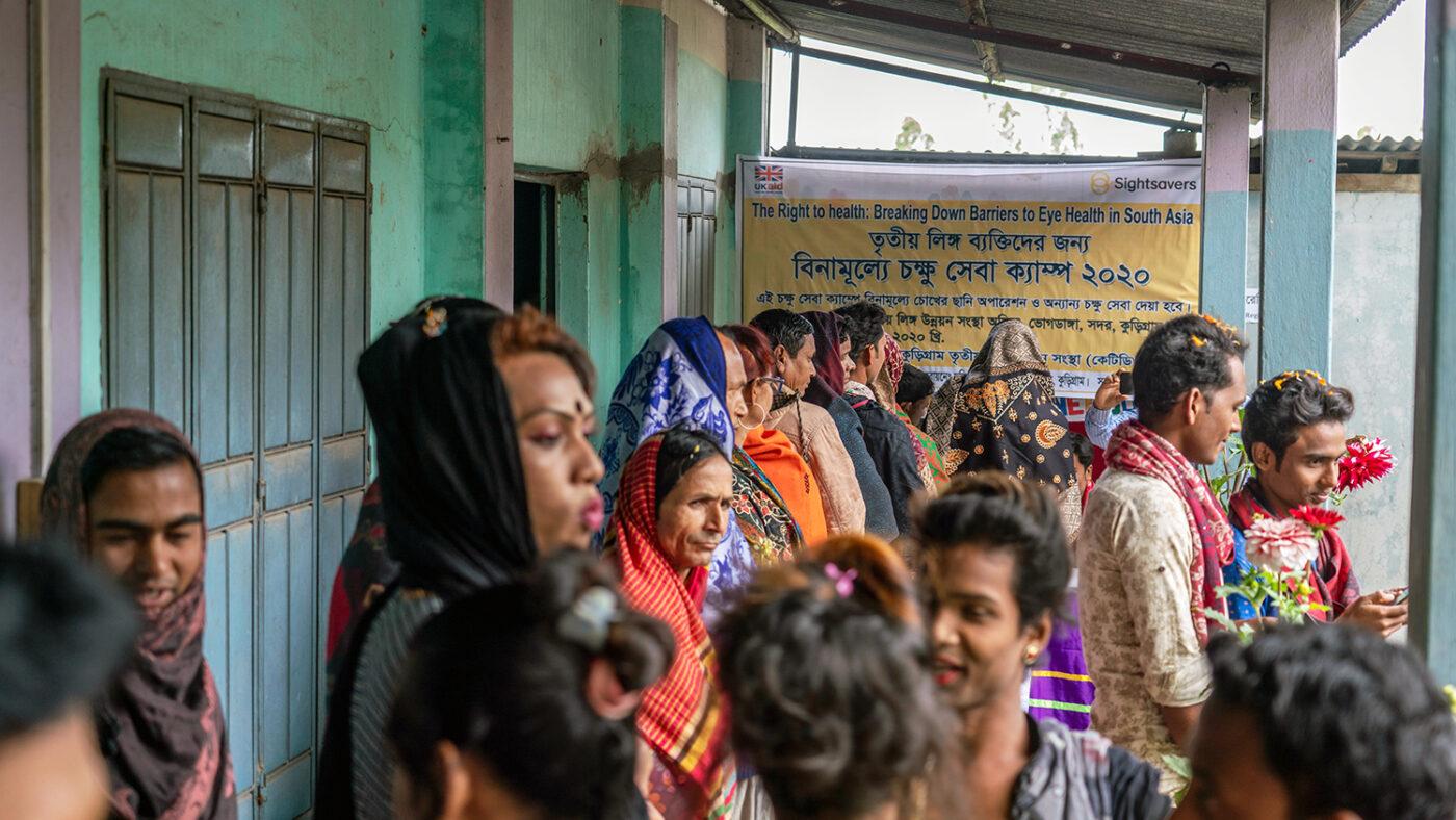 A queue at an eye health screening.